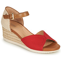 kengät Naiset Sandaalit ja avokkaat Geox D ISCHIA CORDA D Punainen