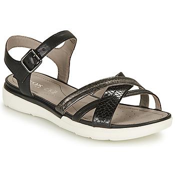 kengät Naiset Sandaalit ja avokkaat Geox D SANDAL HIVER A Musta / Hopea