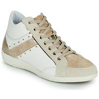 kengät Naiset Korkeavartiset tennarit Geox D MYRIA G Valkoinen / Beige