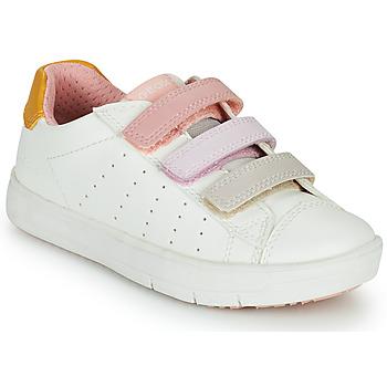 kengät Tytöt Matalavartiset tennarit Geox SILENEX GIRL Valkoinen / Vaaleanpunainen / Beige