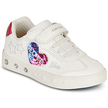 kengät Tytöt Matalavartiset tennarit Geox SKYLIN GIRL Valkoinen / Musta / Vaaleanpunainen