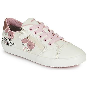 kengät Tytöt Matalavartiset tennarit Geox GISLI GIRL Valkoinen / Vaaleanpunainen
