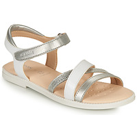 kengät Tytöt Sandaalit ja avokkaat Geox SANDAL KARLY GIRL Valkoinen / Hopea