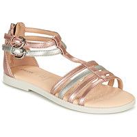 kengät Tytöt Sandaalit ja avokkaat Geox J SANDAL KARLY GIRL Vaaleanpunainen / Hopea