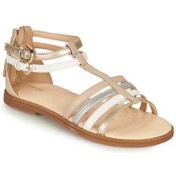 kengät Tytöt Sandaalit ja avokkaat Geox SANDAL KARLY GIRL Beige / Hopea / Valkoinen