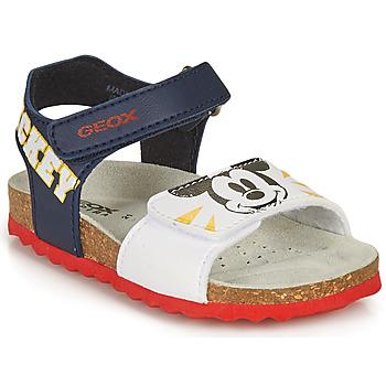 kengät Pojat Sandaalit ja avokkaat Geox SANDAL CHALKI BOY Laivastonsininen / Valkoinen
