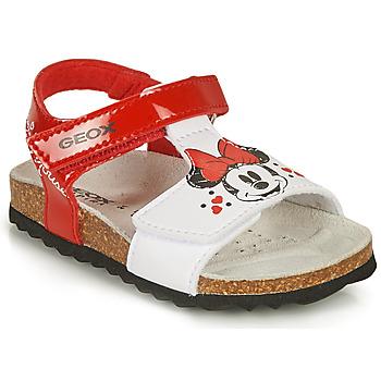 kengät Tytöt Sandaalit ja avokkaat Geox SANDAL CHALKI GIRL Punainen / Valkoinen