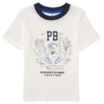 vaatteet Pojat Lyhythihainen t-paita Petit Bateau MARCO Valkoinen