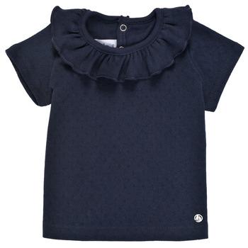 vaatteet Tytöt Lyhythihainen t-paita Petit Bateau MELISSA Laivastonsininen