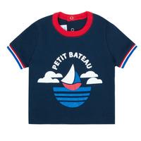 vaatteet Pojat Lyhythihainen t-paita Petit Bateau MENU Laivastonsininen