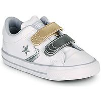 kengät Tytöt Matalavartiset tennarit Converse STAR PLAYER 2V METALLIC LEATHER OX White
