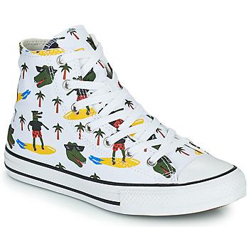 kengät Pojat Korkeavartiset tennarit Converse CHUCK TAYLOR ALL STAR CROCO SURF HI Valkoinen / Vihreä