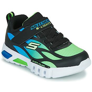 kengät Pojat Matalavartiset tennarit Skechers FLEX-GLOW Black / Blue / Green
