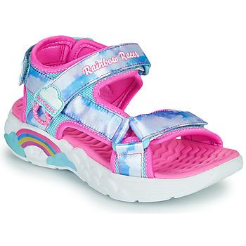 kengät Tytöt Urheilusandaalit Skechers RAINBOW RACER Hopea / Vaaleanpunainen