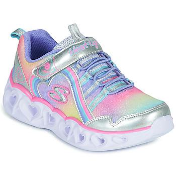 kengät Tytöt Matalavartiset tennarit Skechers HEART LIGHTS RAINBOW LUX Hopea / Vaaleanpunainen