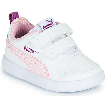 kengät Tytöt Matalavartiset tennarit Puma COURTFLEX INF White / Pink