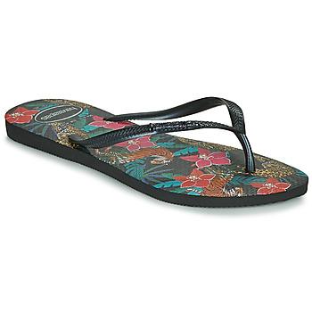 kengät Naiset Varvassandaalit Havaianas SLIM TROPICAL Musta / Harmaa