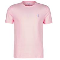 vaatteet Miehet Lyhythihainen t-paita Polo Ralph Lauren T-SHIRT AJUSTE COL ROND EN COTON LOGO PONY PLAYER Vaaleanpunainen