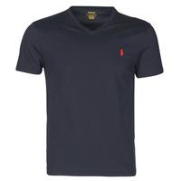 vaatteet Miehet Lyhythihainen t-paita Polo Ralph Lauren T-SHIRT AJUSTE COL V EN COTON LOGO PONY PLAYER Sininen