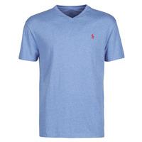 vaatteet Miehet Lyhythihainen t-paita Polo Ralph Lauren T-SHIRT AJUSTE COL V EN COTON LOGO PONY PLAYER Blue / Heather