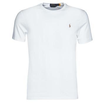 vaatteet Miehet Lyhythihainen t-paita Polo Ralph Lauren T-SHIRT AJUSTE COL ROND EN PIMA COTON LOGO PONY PLAYER MULTICOLO Valkoinen