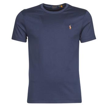 vaatteet Miehet Lyhythihainen t-paita Polo Ralph Lauren T-SHIRT AJUSTE COL ROND EN PIMA COTON LOGO PONY PLAYER MULTICOLO Sininen