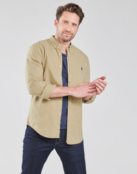 vaatteet Miehet Pitkähihainen paitapusero Polo Ralph Lauren CHEMISE CINTREE SLIM FIT EN OXFORD LEGER TYPE CHINO COL BOUTONNE Beige