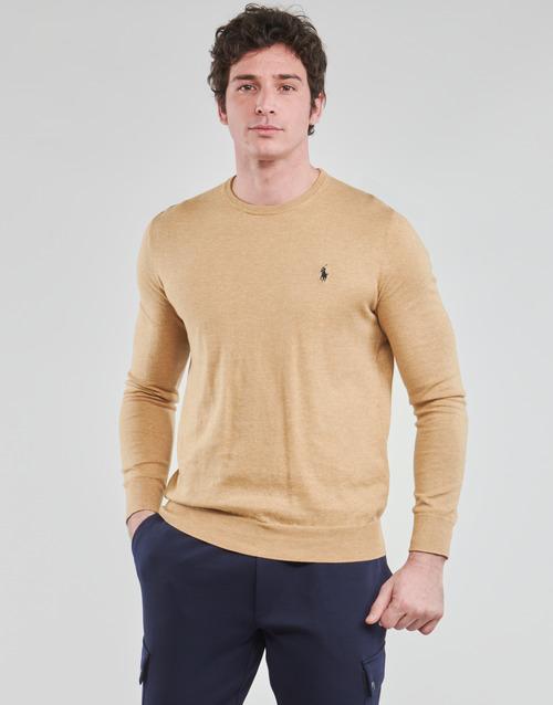 vaatteet Miehet Neulepusero Polo Ralph Lauren PULL COL ROND AJUSTE EN COTON PIMA LOGO PONY PLAYER Kamelinruskea