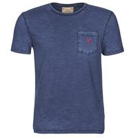 vaatteet Miehet Lyhythihainen t-paita Polo Ralph Lauren T-SHIRT AJUSTE COL ROND EN COTON LOGO PONY PLAYER Sininen