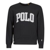 vaatteet Miehet Svetari Polo Ralph Lauren SWEATSHIRT COL ROND INSCIRPTION POLO ET PONY PLAYER SUR LA MANCH Musta