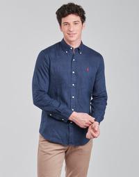 vaatteet Miehet Pitkähihainen paitapusero Polo Ralph Lauren CHEMISE AJUSTEE EN LIN COL BOUTONNE  LOGO PONY PLAYER Sininen