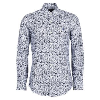 vaatteet Miehet Pitkähihainen paitapusero Polo Ralph Lauren CHEMISE CINTREE SLIM FIT EN POPLINE DE COTON COL BOUTONNE LOGO P Sininen