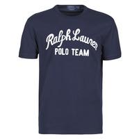 vaatteet Miehet Lyhythihainen t-paita Polo Ralph Lauren T-SHIRT COL ROND EN COTON AVEC POLO RALPH LAUREN SIGNATURE Laivastonsininen