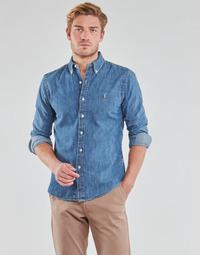vaatteet Miehet Pitkähihainen paitapusero Polo Ralph Lauren CHEMISE CINTREE SLIM FIT EN JEAN DENIM BOUTONNE LOGO PONY PLAYER Blue / Denim
