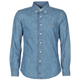 vaatteet Miehet Pitkähihainen paitapusero Polo Ralph Lauren CHEMISE CINTREE SLIM FIT EN JEAN DENIM BOUTONNE LOGO PONY PLAYER Blue / Denim
