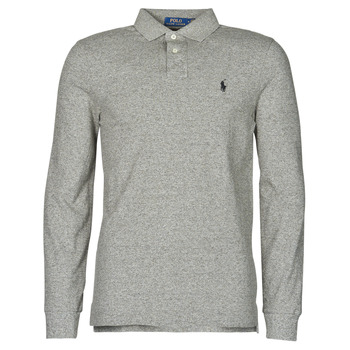 vaatteet Miehet Pitkähihainen poolopaita Polo Ralph Lauren POLO AJUSTE DROIT EN COTON BASIC MESH LOGO PONY PLAYER Grey / Heather