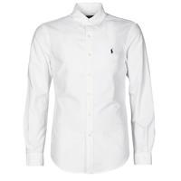 vaatteet Miehet Pitkähihainen paitapusero Polo Ralph Lauren CHEMISE CINTREE SLIM FIT EN OXFORD LEGER TYPE CHINO COL BOUTONNE Valkoinen