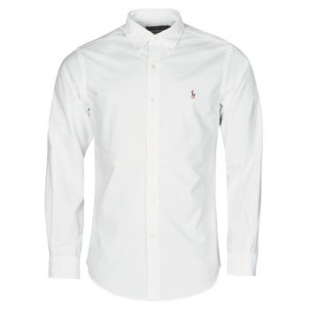 vaatteet Miehet Pitkähihainen paitapusero Polo Ralph Lauren CHEMISE AJUSTEE EN OXFORD COL BOUTONNE  LOGO PONY PLAYER MULTICO White