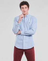 vaatteet Miehet Pitkähihainen paitapusero Polo Ralph Lauren CHEMISE AJUSTEE EN OXFORD COL BOUTONNE  LOGO PONY PLAYER MULTICO Blue