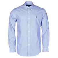 vaatteet Miehet Pitkähihainen paitapusero Polo Ralph Lauren CHEMISE AJUSTEE EN POPLINE DE COTON COL BOUTONNE  LOGO PONY PLAY Sininen / Valkoinen