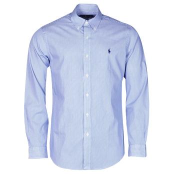 vaatteet Miehet Pitkähihainen paitapusero Polo Ralph Lauren CHEMISE AJUSTEE EN POPLINE DE COTON COL BOUTONNE  LOGO PONY PLAY Blue / White / Stripes