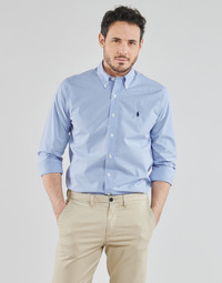 vaatteet Miehet Pitkähihainen paitapusero Polo Ralph Lauren CHEMISE AJUSTEE EN POPLINE DE COTON COL BOUTONNE  LOGO PONY PLAY Blue / White