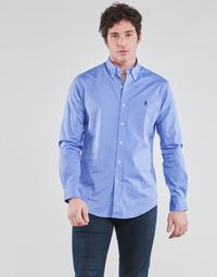vaatteet Miehet Pitkähihainen paitapusero Polo Ralph Lauren CHEMISE AJUSTEE EN POPLINE DE COTON COL BOUTONNE  LOGO PONY PLAY Sininen
