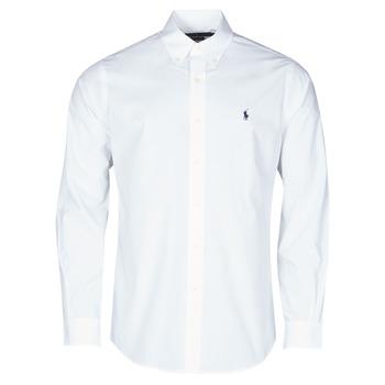 vaatteet Miehet Pitkähihainen paitapusero Polo Ralph Lauren CHEMISE AJUSTEE EN POPLINE DE COTON COL BOUTONNE  LOGO PONY PLAY Valkoinen