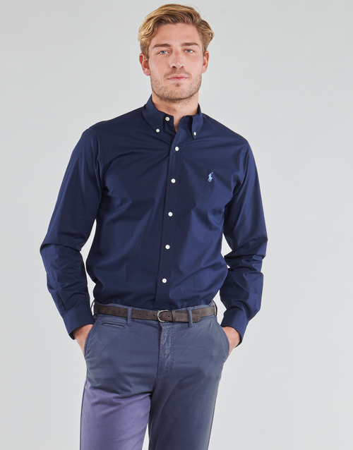 vaatteet Miehet Pitkähihainen paitapusero Polo Ralph Lauren CHEMISE AJUSTEE EN POPLINE DE COTON COL BOUTONNE  LOGO PONY PLAY Laivastonsininen