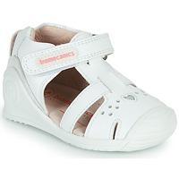 kengät Tytöt Sandaalit ja avokkaat Biomecanics 212104 Valkoinen / Hopea