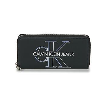 laukut Naiset Lompakot Calvin Klein Jeans ZIP AROUND GLOW Musta