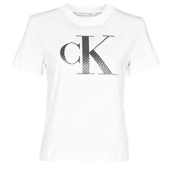 vaatteet Naiset Lyhythihainen t-paita Calvin Klein Jeans SATIN BONDED FILLED CK TEE Valkoinen