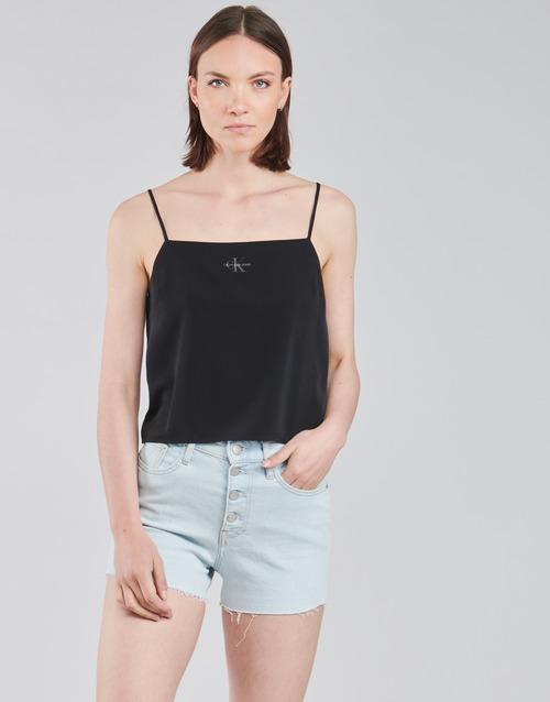 vaatteet Naiset Topit / Puserot Calvin Klein Jeans MONOGRAM CAMI TOP Musta