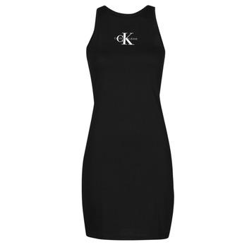 vaatteet Naiset Lyhyt mekko Calvin Klein Jeans MONOGRAM TANK DRESS Musta
